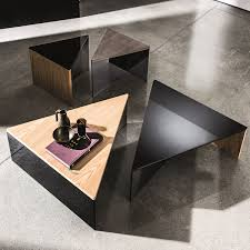 Triangular Coffee Table Regolo Triangular Glass And Wood Coffee Table Klarity Glass