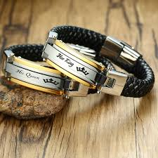 braided leather cuff bracelet images Her king his queen stainless steel braided leather bracelet in jpg