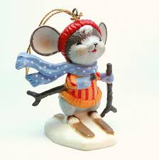 vintage skiing mouse ornaments figurines hong kong