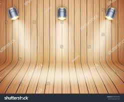 curved wood wall curved wooden background spotlights presentation mockup stock