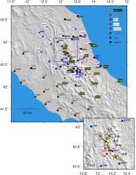 Italy Earthquake Map High Rate Gps Data Archive Of The 2016 Central Italy Seismic