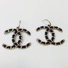 cc earrings chanel chanel cc earrings black braided leather ghw large from