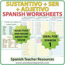 sustantivo ser adjetivo u2013 spanish worksheets woodward spanish