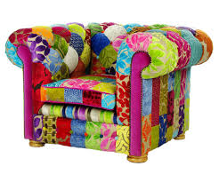 Patchwork Chesterfield - bespoke patchwork chesterfield armchair designers guild fabric