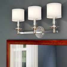 gallego 3 light glass shade vanity light polished nickel vanity lighting birch lane