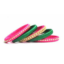 and pink combination silk thread bangles set
