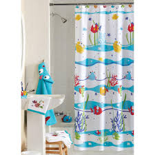 awesome white polyester kids shower curtain colorful sea theme