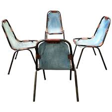 charlotte perriand style denim deck chairs sold as set four at