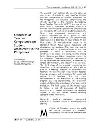 standards of teacher competence on student assessment in the