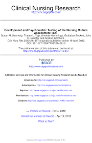 development and psychometric testing of the nursing culture