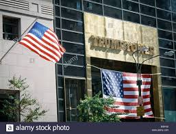 trump tower entrance u0026 flags day stock photo royalty free image