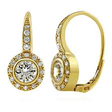 leverback earrings gold flashed sterling silver cubic zirconia cz halo