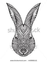 hand drawn graphic ornate head rabbit stock vector 448868110