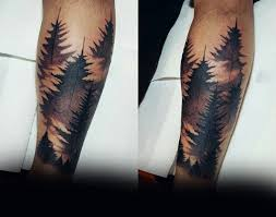 collection of 25 pine tree and birds arm tattoos