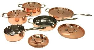 pantry chef cookware 10 5 ply copper cookware set with copper lids traditional