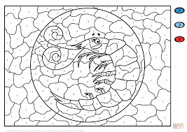 funny cartoon shrimp color by number free printable coloring pages