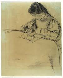 writing at a table recto sketch of a donkey verso