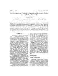 Counseling The Procrastinator In Academic Settings Pdf Correlation Among Academic Procrastination Personality Traits
