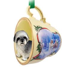 lhasa apso teacup ornament figurine gray sport