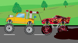 bigfoot presents meteor and the mighty monster trucks tow truck helps disney lightning mcqueen monster truck video for