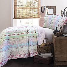 amazon com full queen quilt set shabby patchwork vintage pink