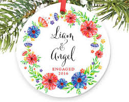 gifts for newly engaged couple christmas ornament personalized