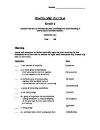 diversity of living things grade 6 science test science