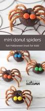 Spider Cakes For Halloween Easy Mini Donut Spiders Easy Halloween Treat Kids Can Make