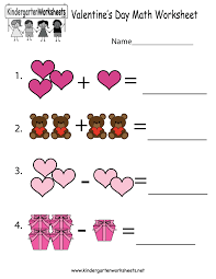 Worksheets For Math Valentine U0027s Day Math Worksheet Free Kindergarten Holiday