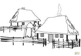 ukrainian traditional house coloring page free printable