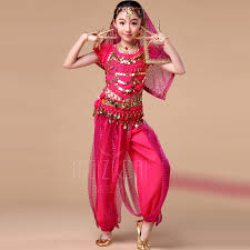 kids belly dance costumes 5 pcs children indian clothes india rose
