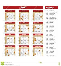 simple calendar 2017 marked with the official holidays for the usa