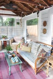 shed turned boho screened porch white plank walls wall wood and