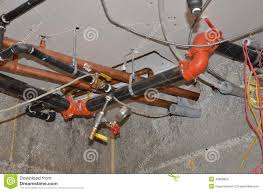 plumbing water lines and fire protection stock photo image