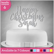 name cake toppers personalised happy christening day any name cake topper decoration