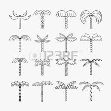 graphical palm tree set linear style isolated vector objects