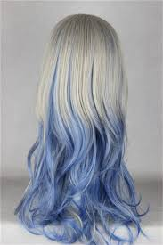 60cm long wavy synthetic gray blue mixed color wigs for