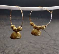 metal earings casual terracotta earrings with metal beaded string devikajacob