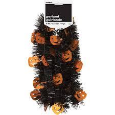 9 u0027 pumpkin halloween tinsel garland walmart com
