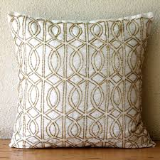 decorative throw pillow covers 16 inch silk gold ivory embroidered