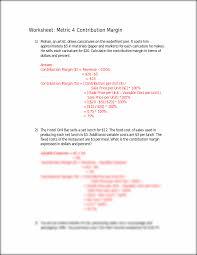 worksheet 4 worksheet metric 4 contribution margin 1 mohan an