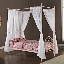 Pink Girls Bedroom Curtains White Wooden Canopy Beds With Valance And Curtains Also Pink