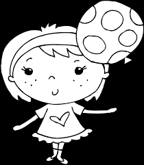 coloring page of with balloon free clip art