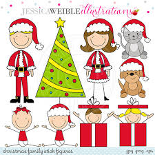 family stick figures digital clipart for card