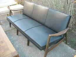 Retro Glider Sofa by Vintage Retro Black Leather Danish Modern Sofa Eames Early 60s