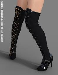 s boots lace overknee lace up boots for genesis 8 s 3d models and 3d