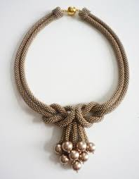 knot necklace images Beige love knot necklace with matching swarovski pearls jpg