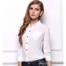 white blouses 2018 casual white blouse solid lapel work
