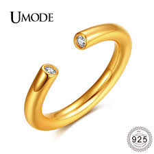 open wedding band umode fashion gold color cuff ring for women 925 silver open