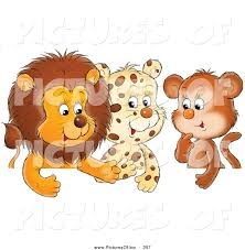 clipart of a group of three animal friends a cute baby lion
